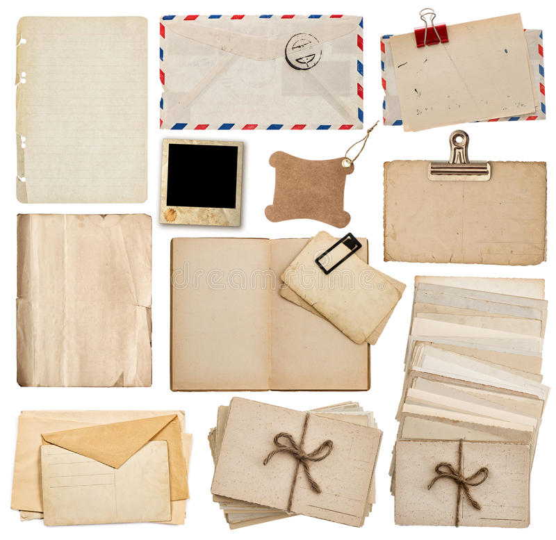 Uppsättning av gamla pappersark, bok, kuvert, vykort royaltyfria bilder