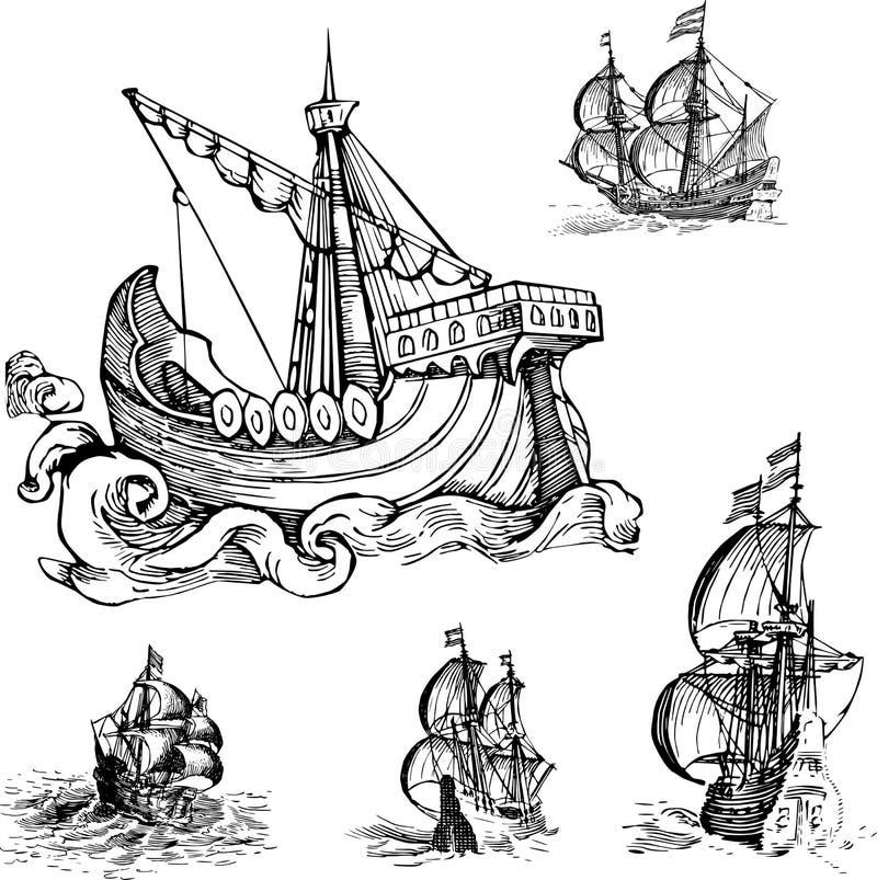 Uppsättning av gamla seglingskepp stock illustrationer