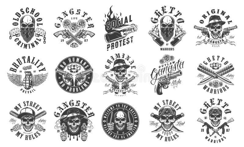Uppsättning av gangsteremblem stock illustrationer