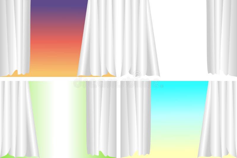 Uppsättning av gardiner i olik bakgrund Vektorillustration, EPS10 royaltyfri illustrationer