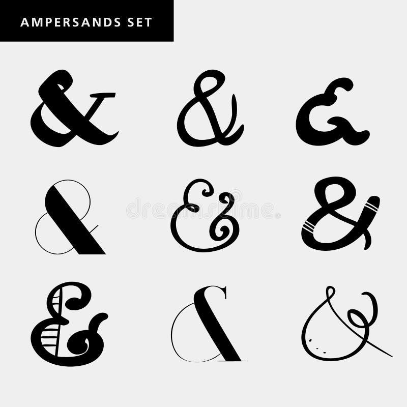Uppsättning av garneringet-tecken för bokstäver, inbjudan Hand dragen typ stock illustrationer
