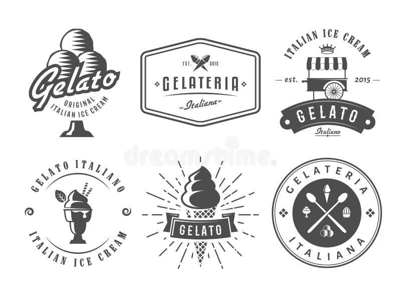 Uppsättning av gelatoemblem royaltyfri illustrationer