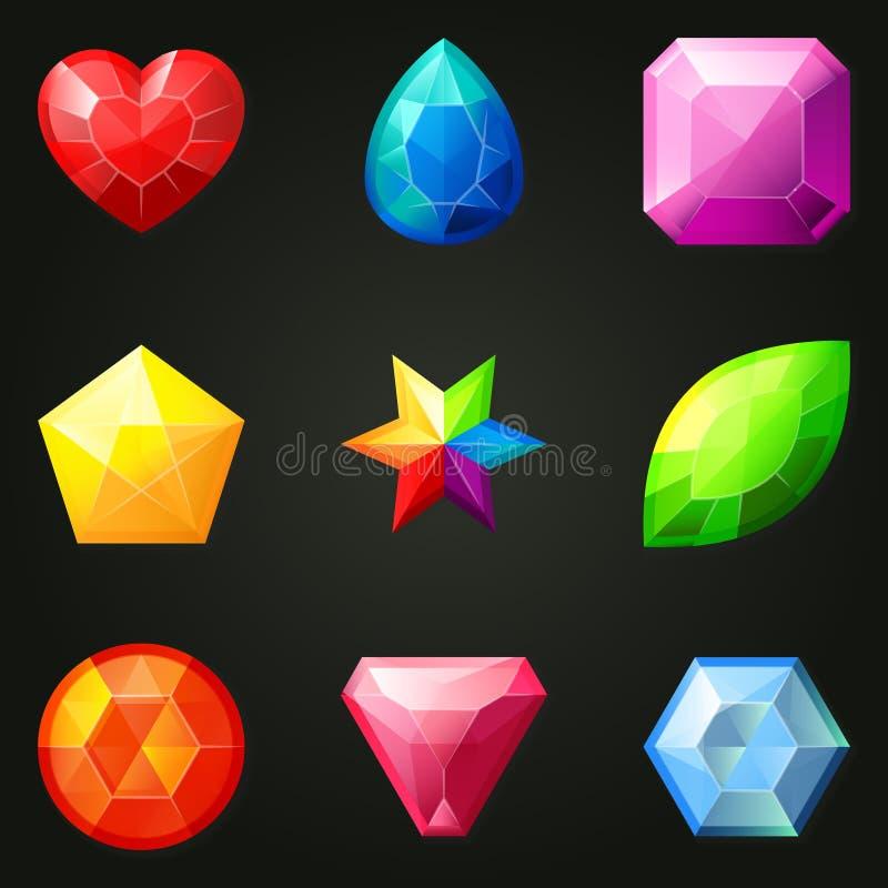Uppsättning av gemstones med olika former royaltyfri illustrationer