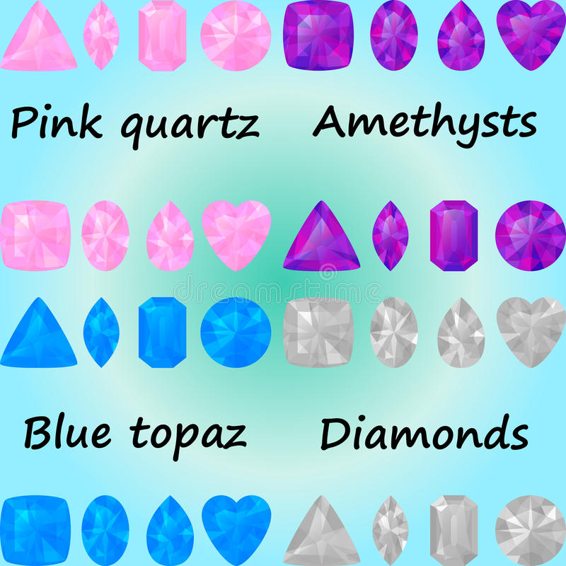 Uppsättning av gemstones: rosa kvarts, ametysts, blå topas, diamanter stock illustrationer