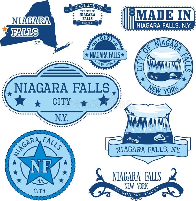 Uppsättning av generiska stämplar och tecken av Niagara Falls, NY stock illustrationer