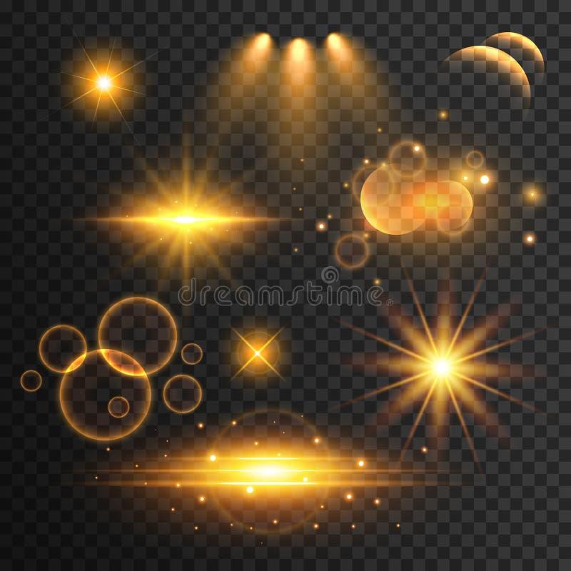Uppsättning av genomskinlig linssignalljus och ljusa effekter vektor illustrationer