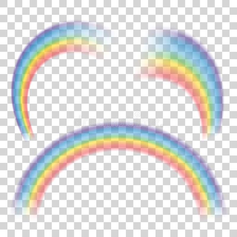 Uppsättning av genomskinliga regnbågar också vektor för coreldrawillustration vektor illustrationer