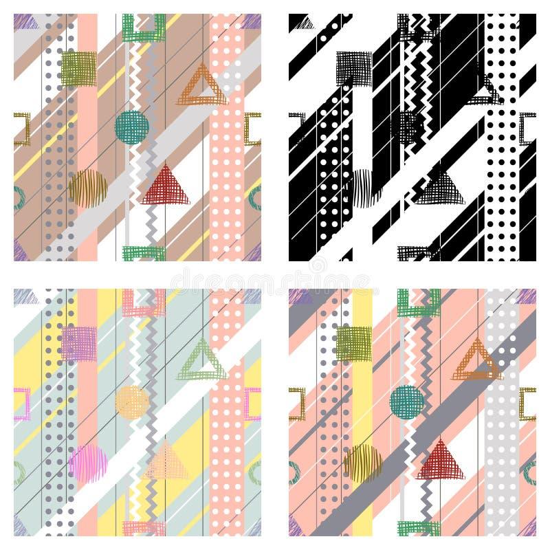 Uppsättning av geometriska abstrakt begreppmodeller för sömlös vektor med linjer, prickar, diagonalband Ändlösa bakgrunder med ol royaltyfri illustrationer