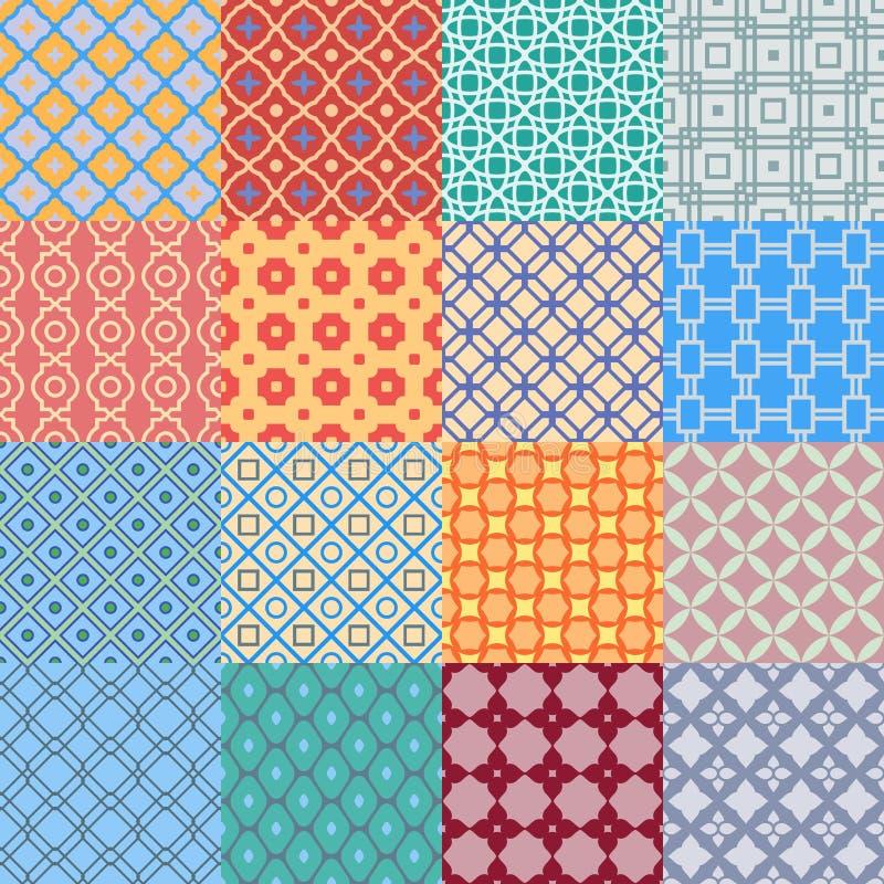Uppsättning av geometriska abstrakta sömlösa modeller Version med prövkopiatext vektor illustrationer