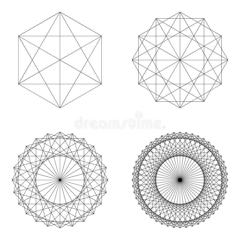 Uppsättning av geometriska beståndsdelar och former vektor illustrationer