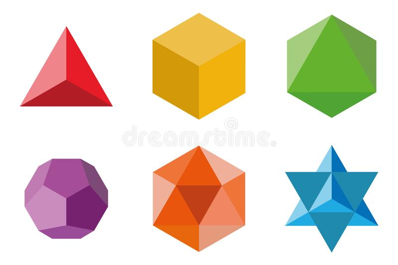 Uppsättning av geometriska beståndsdelar och former: pyramid, kub, octahedron, dodecahedron, icosahedron och Davids stjärna royaltyfri illustrationer