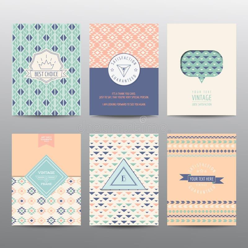 Uppsättning av geometriska broschyrer och kort stock illustrationer