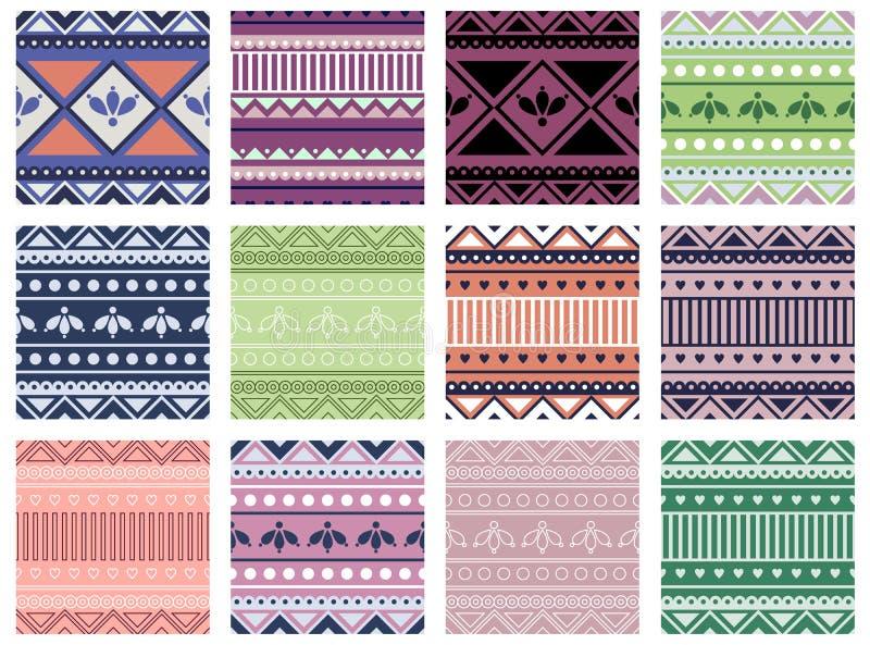 Uppsättning av geometriska färgrika modeller för sömlös vektor med dekorativa beståndsdelar, ändlös bakgrund med etniska motiv St stock illustrationer