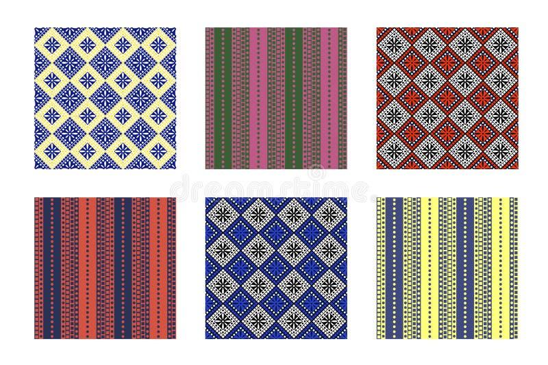 Uppsättning av geometriska färgrika modeller för sömlös vektor med dekorativa beståndsdelar, ändlös bakgrund med etniskt motiv royaltyfri illustrationer