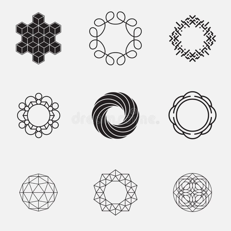 Uppsättning av geometriska former, cirklar, stock illustrationer