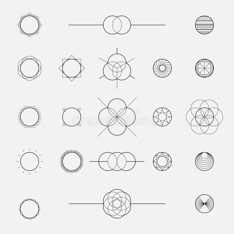 Uppsättning av geometriska former, cirklar, linje design, vektor royaltyfri illustrationer