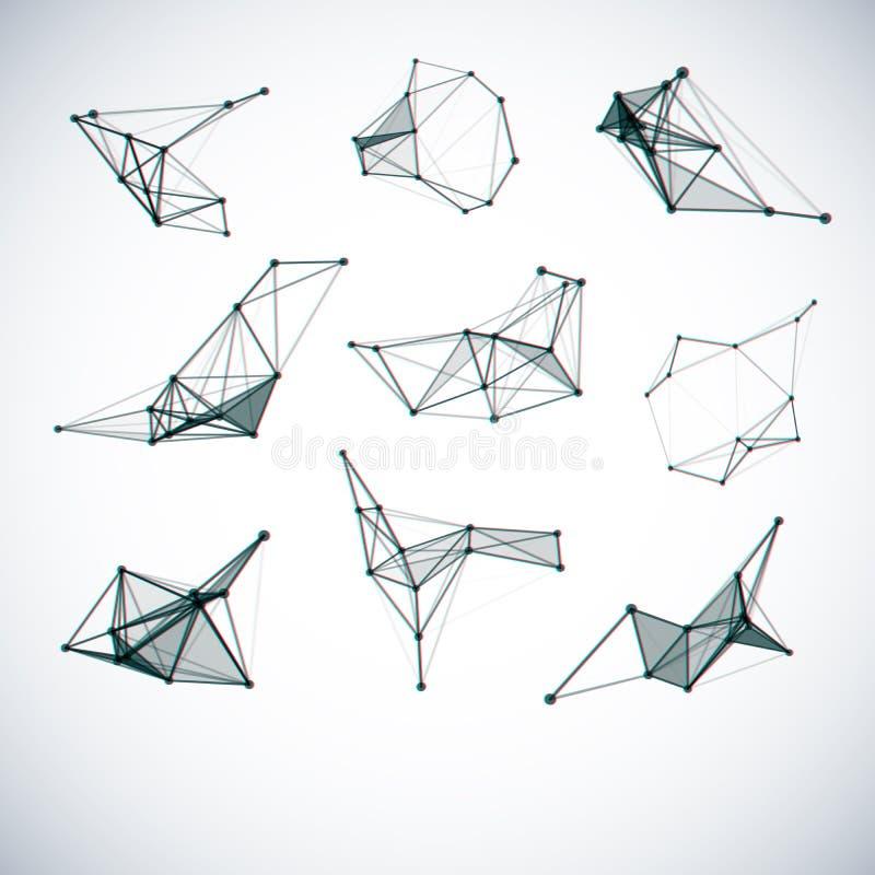 Uppsättning av geometriska former för abstrakt vektor vektor illustrationer