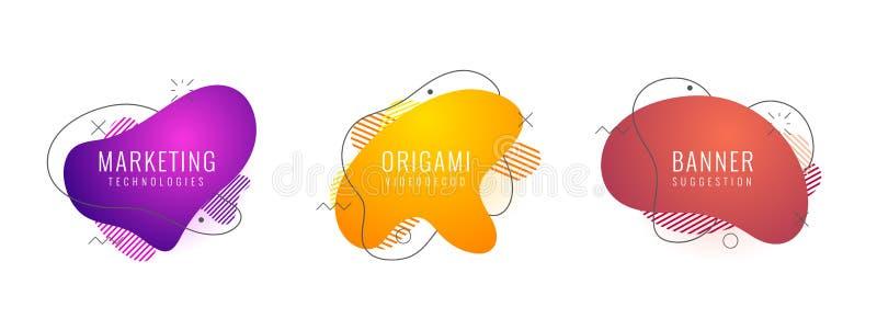 Uppsättning av geometriska former för vätskefärgabstrakt begrepp Fluid lutningbeståndsdelar för minsta baner, logo, futuristisk s royaltyfri illustrationer