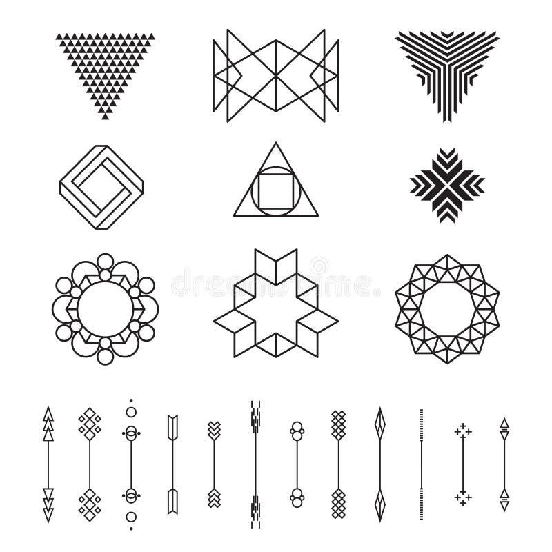 Uppsättning av geometriska former, vektorillustration som isoleras, linje design vektor illustrationer