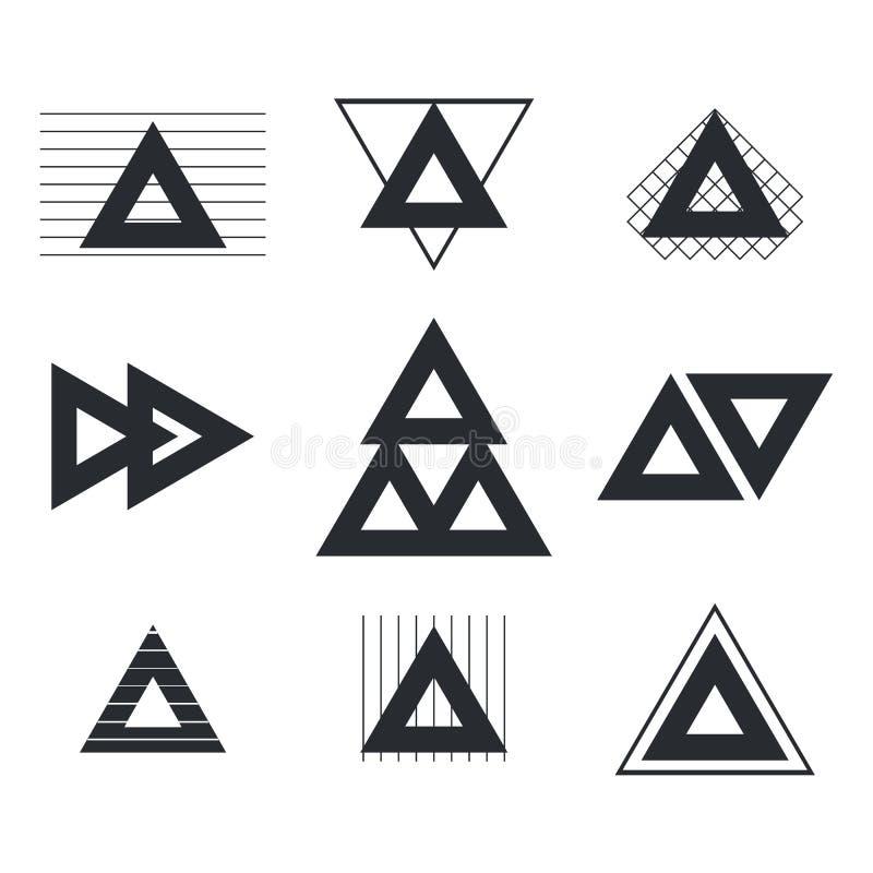 Uppsättning av geometriska formtrianglar, linjer för din design moderiktigt stock illustrationer