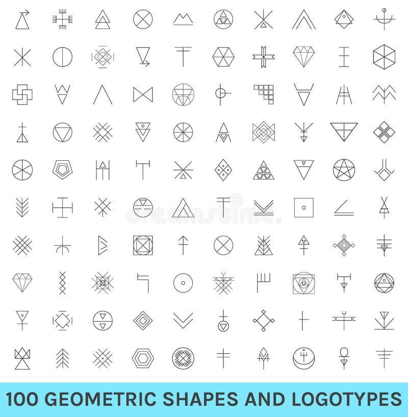 Uppsättning av 100 geometriska hipsterformer stock illustrationer