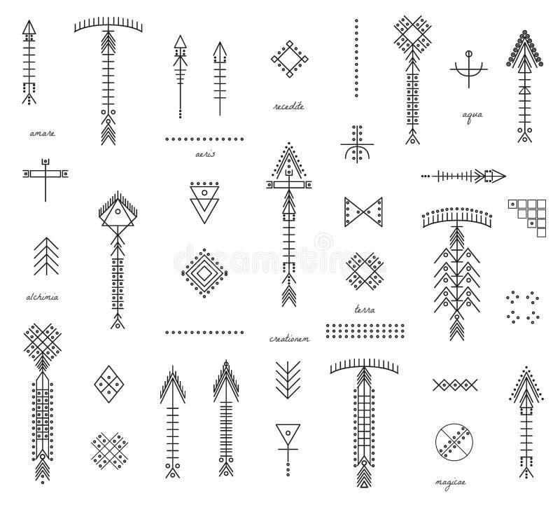Uppsättning av geometriska hipsterformer och pilar stock illustrationer