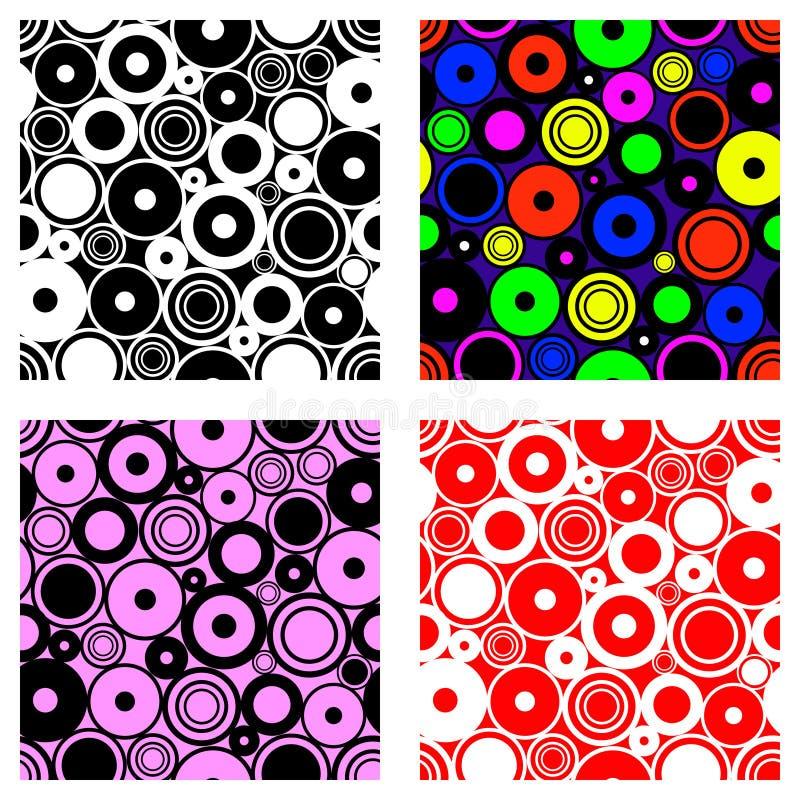 Uppsättning av geometriska modeller för sömlös vektor Ändlösa bakgrunder med cirklar Grafisk illustration Mall för räkningen, tyg vektor illustrationer