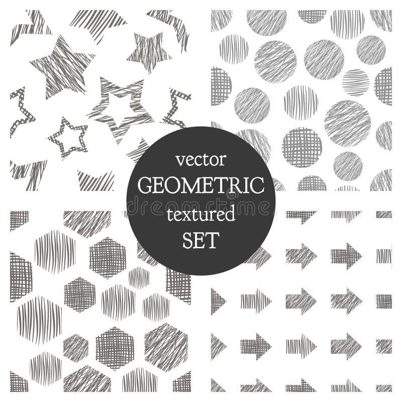 Uppsättning av geometriska modeller för sömlös vektor med rektanglar, cirkel, pilar, stjärnor Svartvit pastellfärgad ändlös bakgr vektor illustrationer