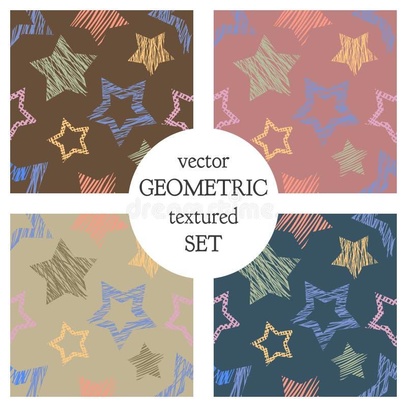 Uppsättning av geometriska modeller för sömlös vektor med stjärnor pastellfärgad ändlös bakgrund med den drog handen texturerade  royaltyfri illustrationer