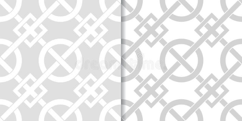 Uppsättning av geometriska prydnader Ljus - gråa sömlösa modeller stock illustrationer