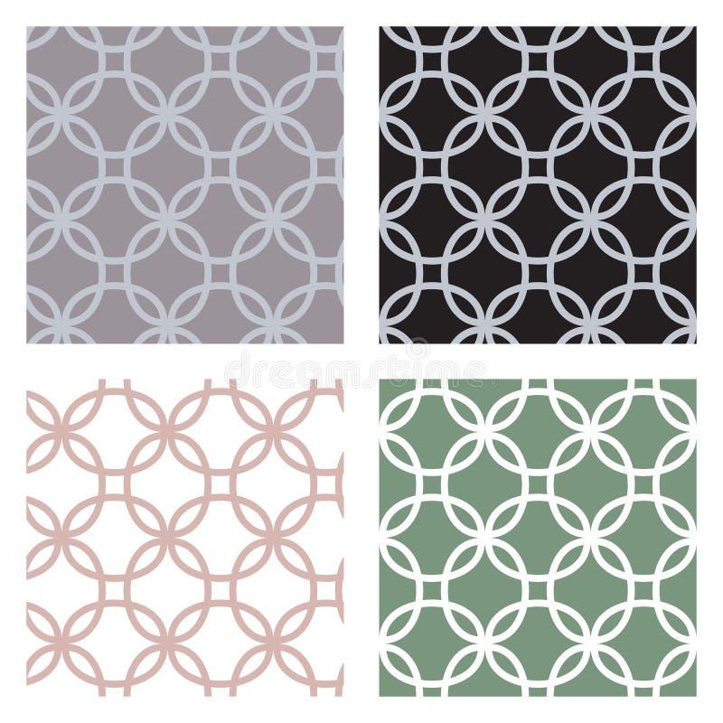 Uppsättning av geometriska sömlösa modeller med cirklar royaltyfri illustrationer