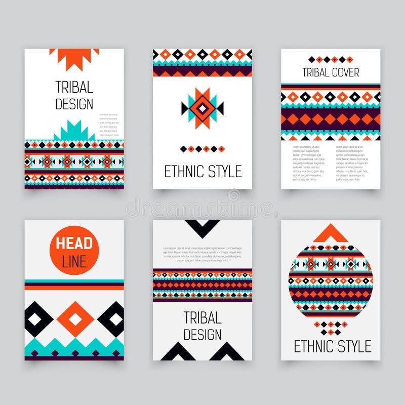 Uppsättning av geometriska stam- färgrika reklamblad, broschyrmallar, designbeståndsdelar, modern stam- modell, gåvakort stock illustrationer