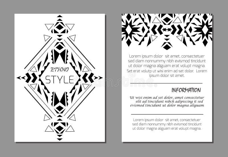 Uppsättning av geometriska svartvita broschyrmallar för vektor för affär och inbjudan ethnic stock illustrationer
