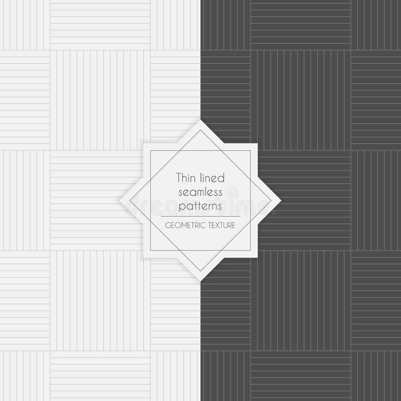 Uppsättning av geometriska thin fodrade sömlösa modeller vektor illustrationer