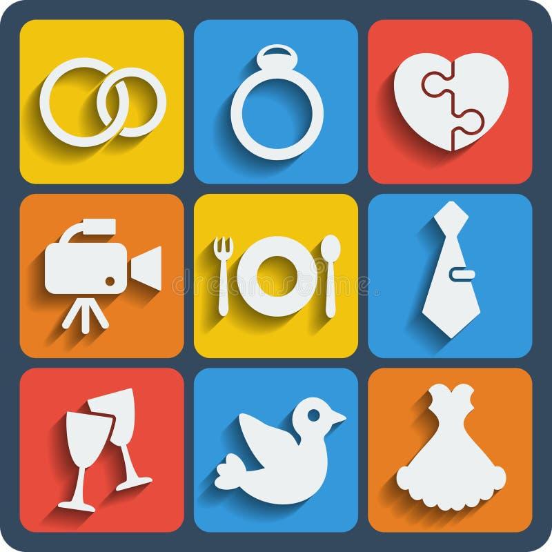 Uppsättning av 9 gifta sig rengöringsduk- och mobilsymboler vektor stock illustrationer