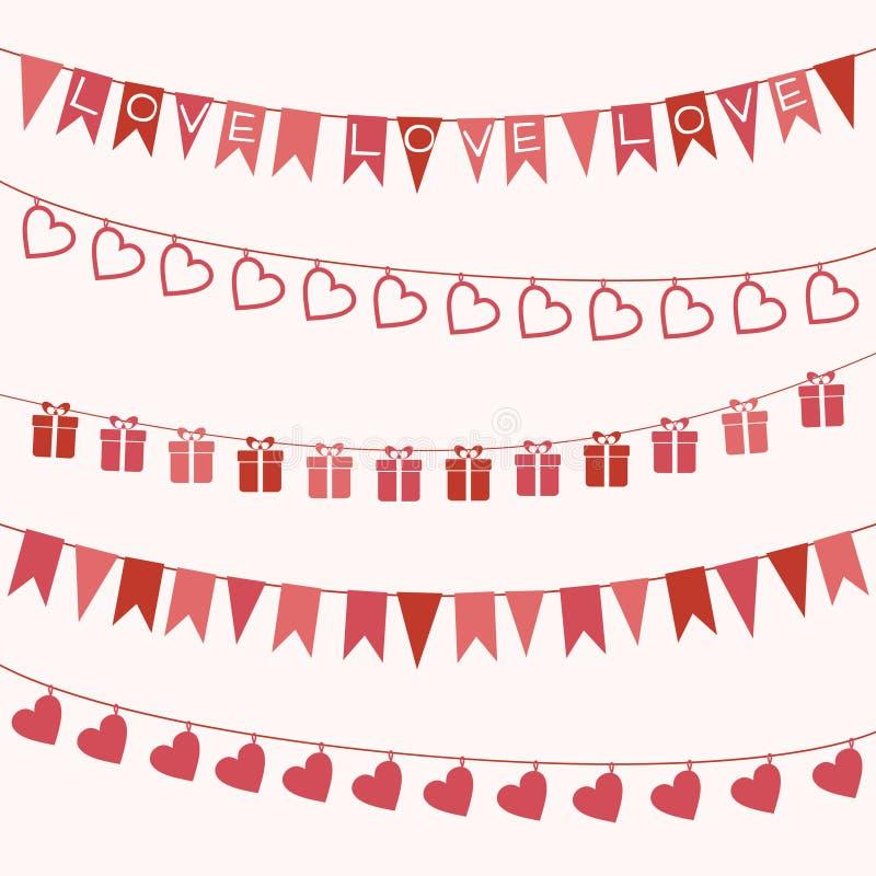 Uppsättning av girlander för valentin dag eller bröllop stock illustrationer