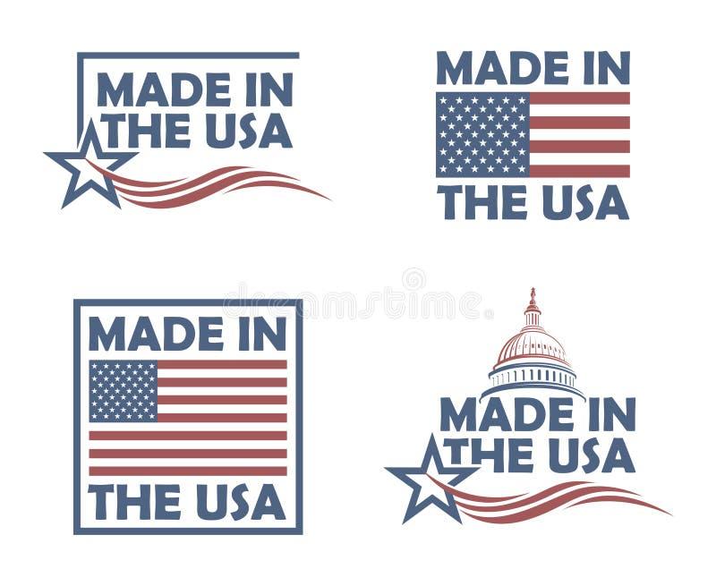 Uppsättning av gjort i USA-etiketter royaltyfri illustrationer