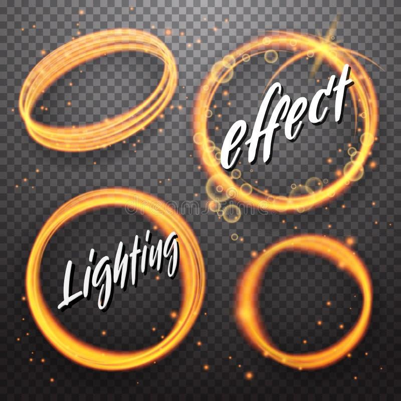Uppsättning av glänsande ljusa effekter för cirkel och för förmörkelse stock illustrationer