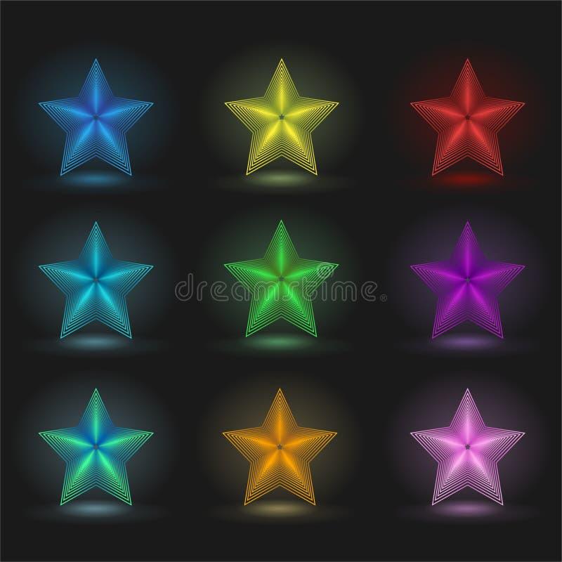 Uppsättning av 9 glödande stjärnor på en svart bakgrund vektor illustrationer
