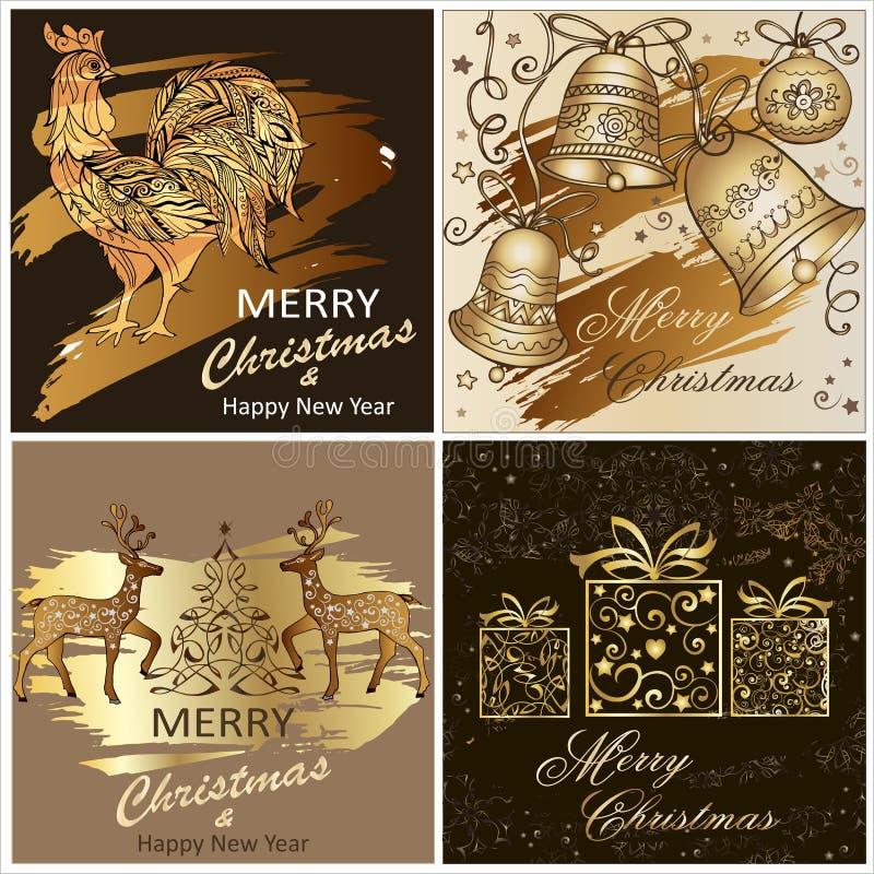 Uppsättning av glad jul för mallar och ett lyckligt nytt år med en hjort, med julklockor Symboltupp 2017 stock illustrationer