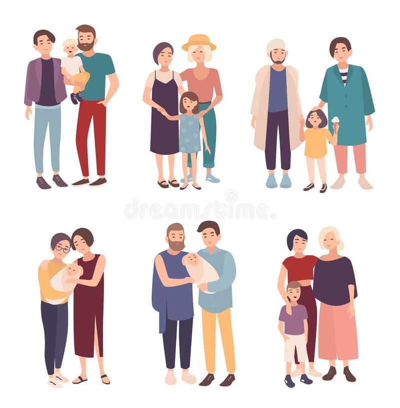 Uppsättning av glade par med barn av olika åldrar Den LGBT-mannen och kvinnlign med behandla som ett barn Homosexuell familjsamli stock illustrationer