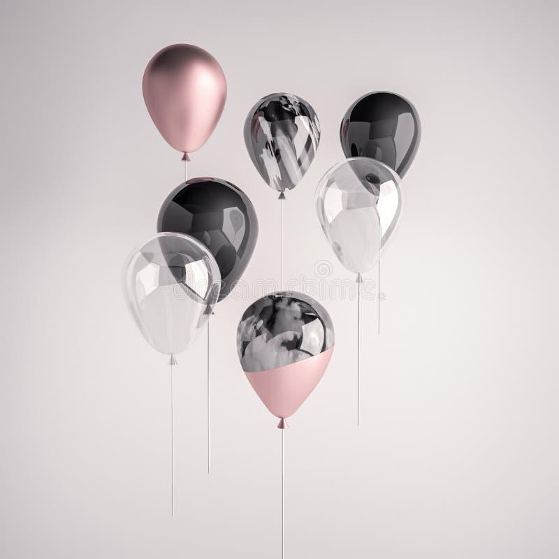 Uppsättning av glansig svart, transperent, rosa svartvit realistisk ballong för marmor 3D på pinnen för partiet, händelser, prese royaltyfri illustrationer