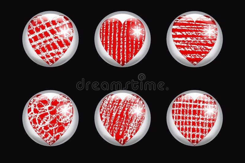 Uppsättning av glansiga knappar med hjärta vektor illustrationer