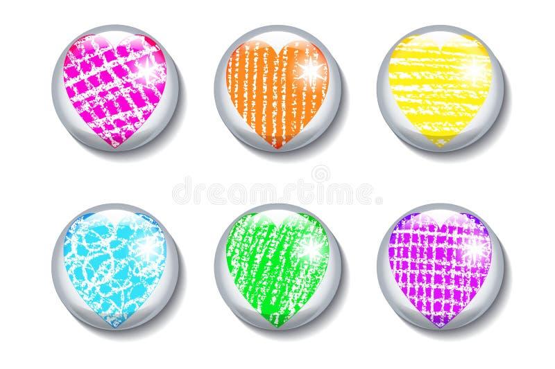 Uppsättning av glansiga knappar med hjärta royaltyfri illustrationer