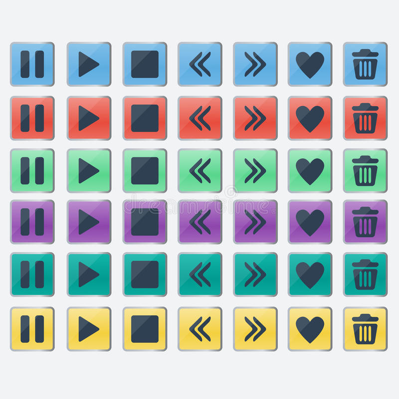 Uppsättning av glansiga kulöra knappsymboler för rengöringsdukdesign vektor illustrationer
