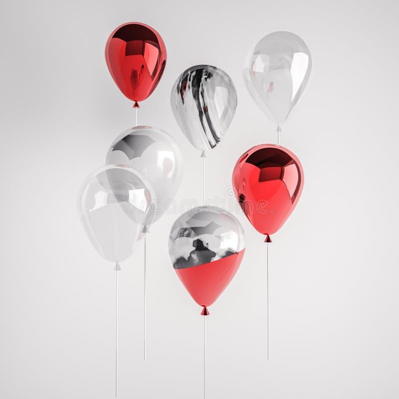 Uppsättning av glansiga röda, för marmor, genomskinliga och vita för marmor 3D realistiska ballonger på pinnen för parti, händels royaltyfri illustrationer