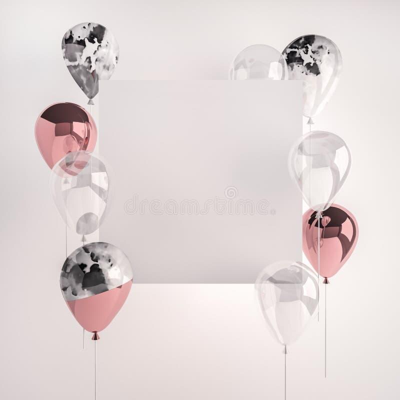 Uppsättning av glansiga rosa färger, marmor och genomskinliga ballonger stock illustrationer