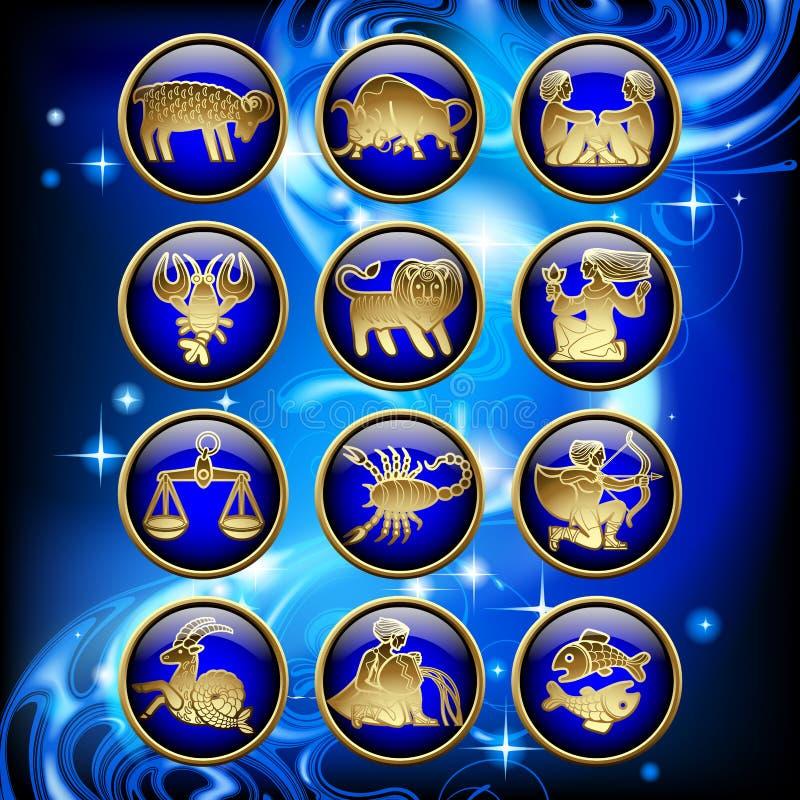 Uppsättning av glansiga runda zodiaksymboler med guld- linjära symboler på blått stock illustrationer