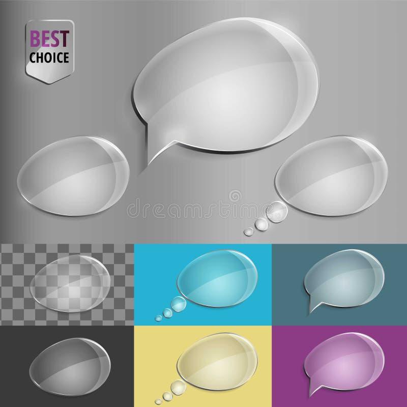 Uppsättning av glass anförandebubblasymboler med mjuk skugga på lutningbakgrund Vektorillustration EPS 10 för rengöringsduk royaltyfri foto