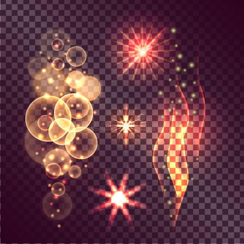 Uppsättning av glimthandlingar på genomskinlig bakgrund royaltyfri illustrationer